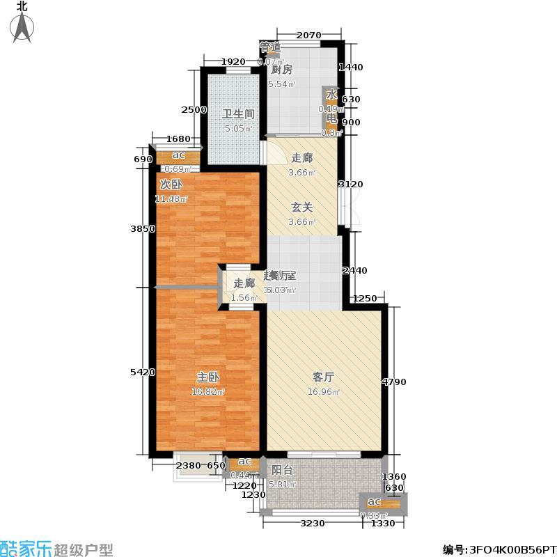 东城天骄91.00㎡2期4-6栋标准层面积9100m户型