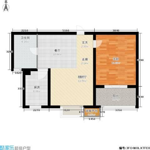 嘉宝都市港湾城1室1厅1卫1厨72.00㎡户型图