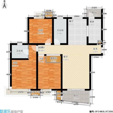 嘉宝都市港湾城3室1厅2卫1厨142.00㎡户型图