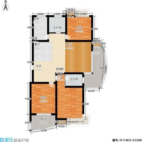 嘉宝都市港湾城3室1厅2卫1厨160.00㎡户型图