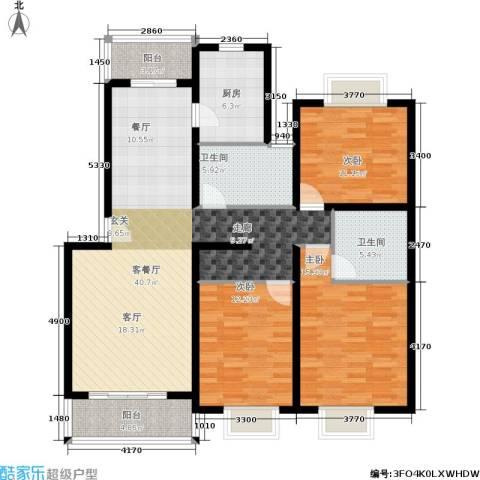 绿地南桥新苑3室1厅2卫1厨120.00㎡户型图