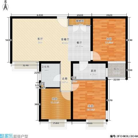 万邦都市花园3室1厅1卫1厨118.00㎡户型图