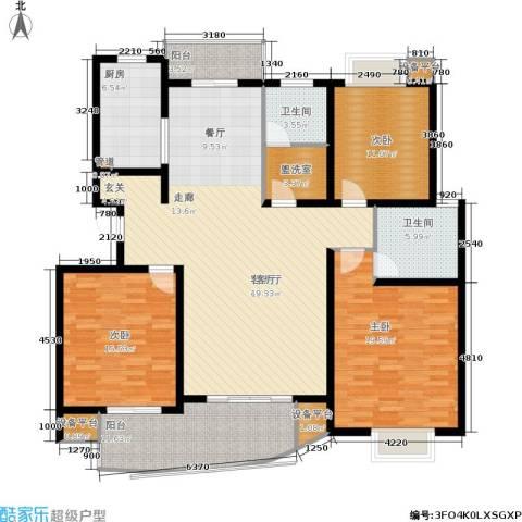 嘉宝都市港湾城3室1厅2卫1厨147.00㎡户型图