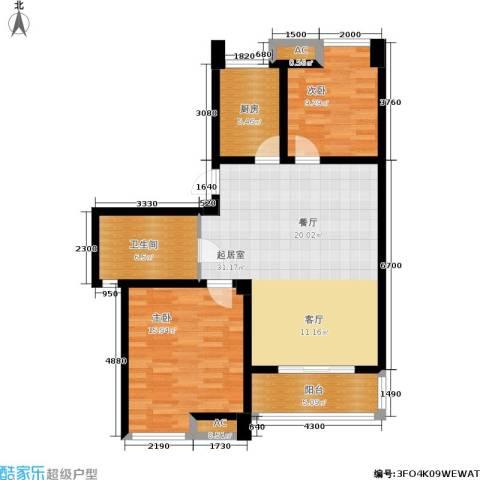 喜盈门2室0厅1卫1厨86.00㎡户型图