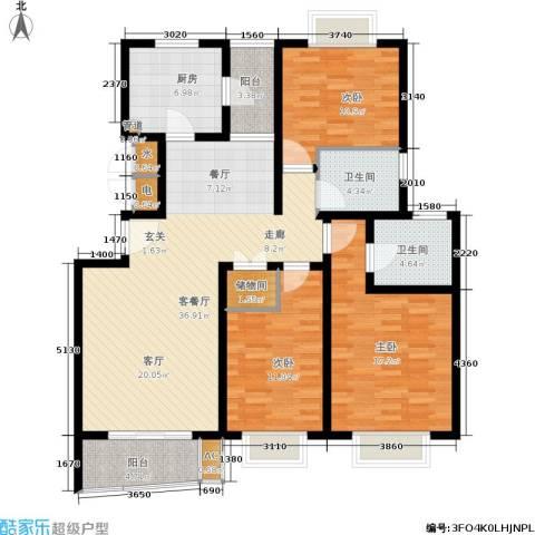 万邦都市花园3室1厅2卫1厨122.00㎡户型图