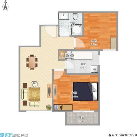 北京城建・福润四季2室1厅1卫1厨67.00㎡户型图