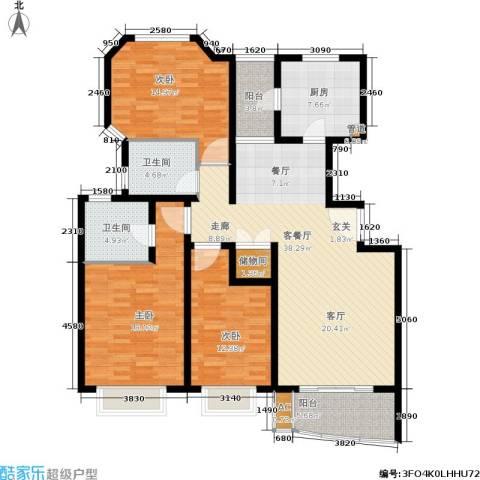 万邦都市花园3室1厅2卫1厨129.00㎡户型图