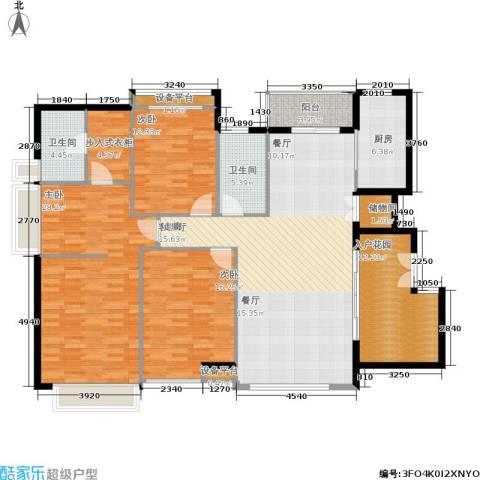 五洲云景花苑3室1厅2卫1厨153.00㎡户型图