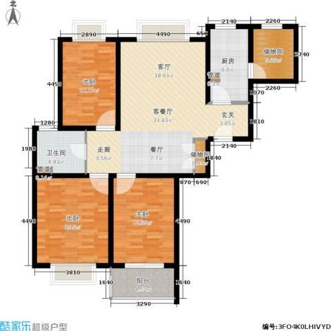万邦都市花园3室1厅1卫1厨136.00㎡户型图