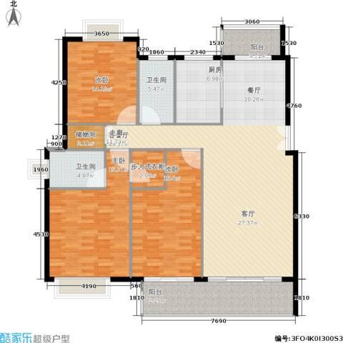 五洲云景花苑3室1厅2卫1厨154.00㎡户型图