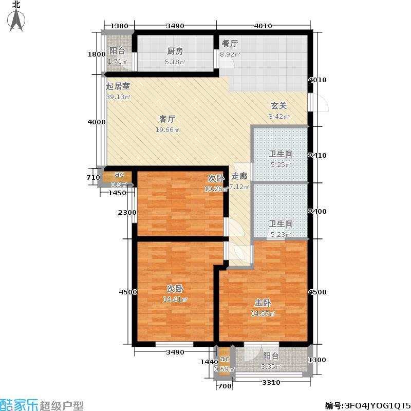 和平时光143.36㎡3号楼标准层K户面积14336m户型