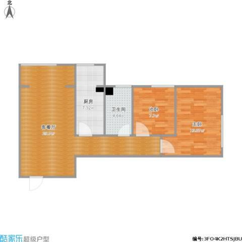 迎晖园2室1厅1卫1厨85.00㎡户型图