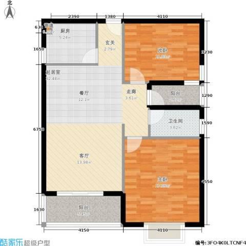 兆丰帝景苑2室0厅1卫1厨88.00㎡户型图