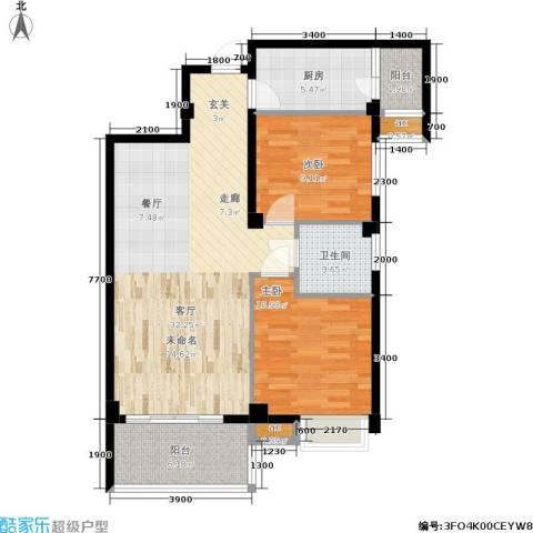 明发城市广场2室1厅1卫1厨88.00㎡户型图