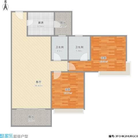 雅居乐熹玥2室1厅2卫1厨125.00㎡户型图