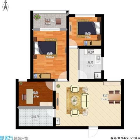 百家乐园3室1厅1卫1厨96.00㎡户型图