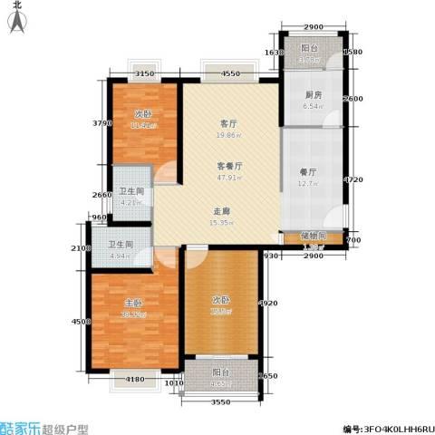 万邦都市花园3室1厅2卫1厨136.00㎡户型图