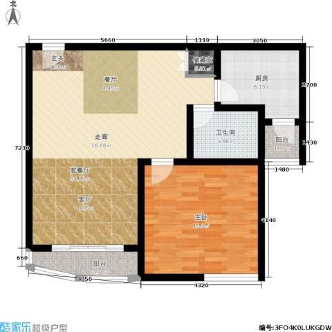 第五大道东方中华园1室1厅1卫1厨94.00㎡户型图