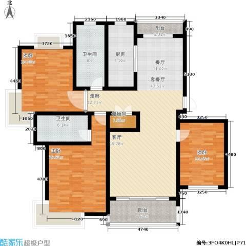 星河世纪城3室1厅2卫1厨140.00㎡户型图