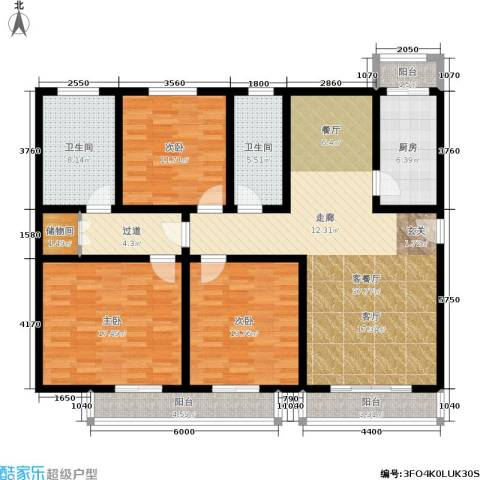 第五大道东方中华园3室1厅2卫1厨169.00㎡户型图