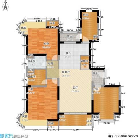经纬城市绿洲三期3室1厅2卫1厨131.00㎡户型图