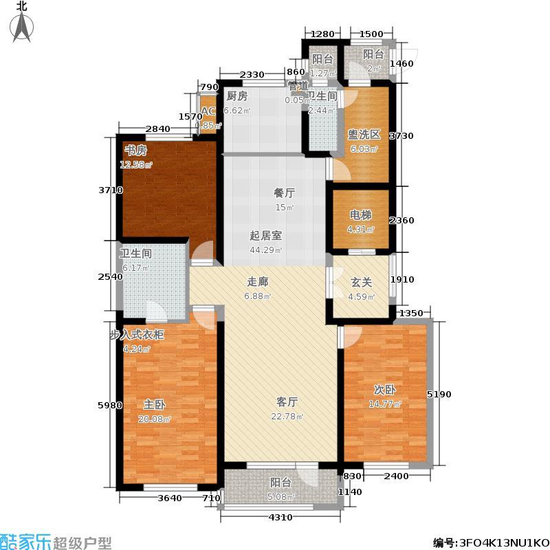 万科金域蓝湾174.00㎡A37#户型3室2厅