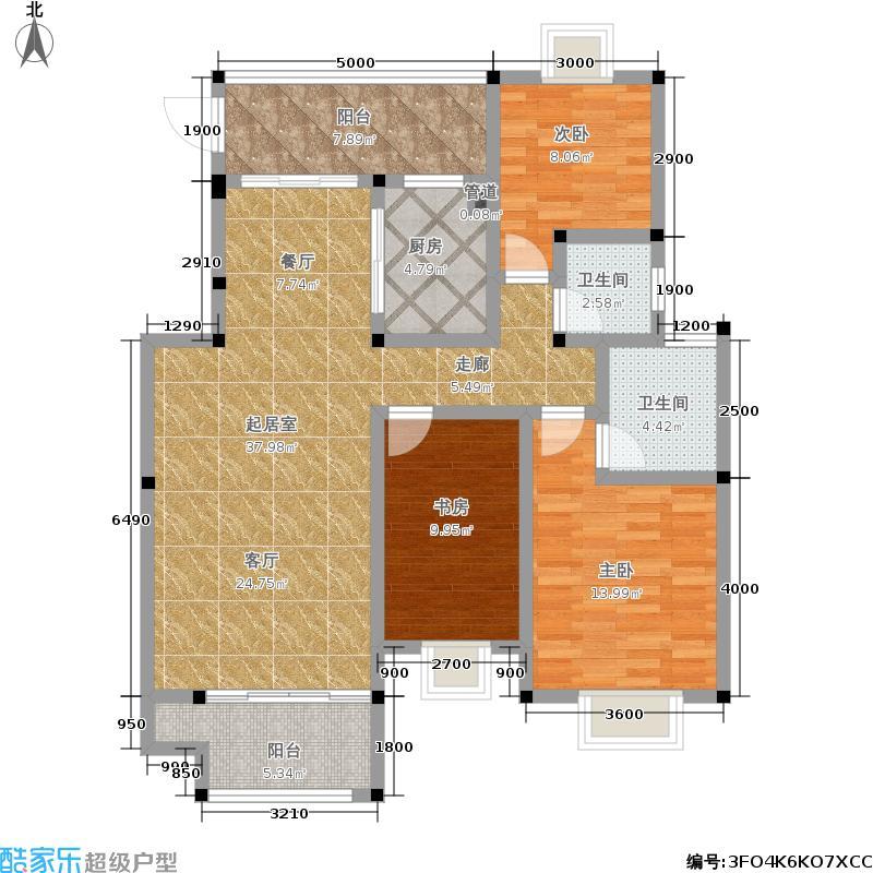 尔海南山御景122.67㎡10#B户型:3房2厅2卫户型3室2厅2卫