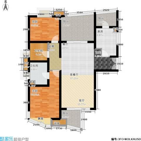慧芝湖花园2室1厅2卫1厨113.00㎡户型图