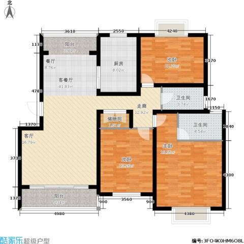 星河世纪城3室1厅2卫1厨125.00㎡户型图
