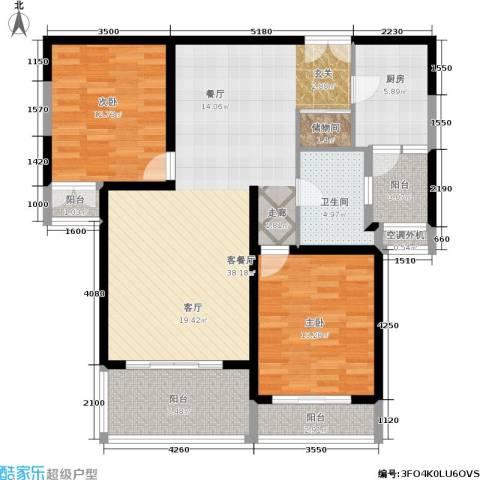 宝宸怡景园2室1厅1卫1厨104.00㎡户型图