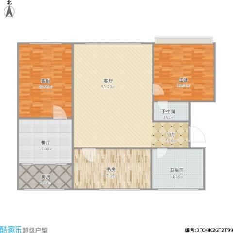 中文化小区3室2厅2卫1厨192.00㎡户型图