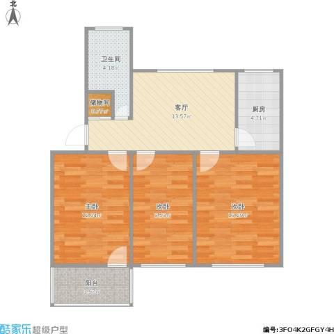 桥工新村3室1厅1卫1厨84.00㎡户型图