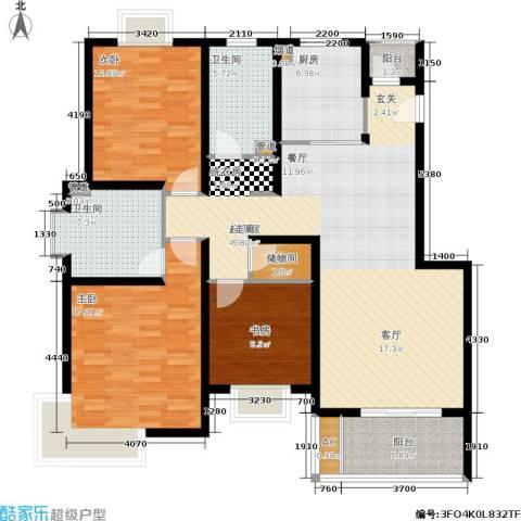 新天地荻泾花园3室0厅2卫1厨128.00㎡户型图