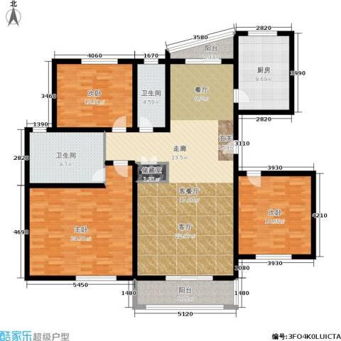 第五大道东方中华园3室1厅2卫1厨188.00㎡户型图