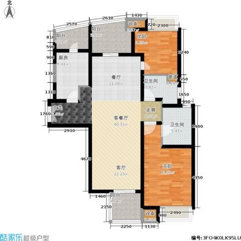 慧芝湖花园2室1厅2卫1厨110.00㎡户型图