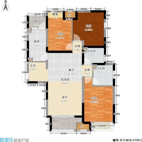 绿地梧桐院3室0厅2卫1厨115.00㎡户型图