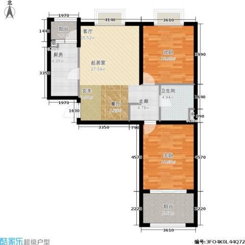 恒阳花苑海上花2室0厅1卫1厨85.00㎡户型图