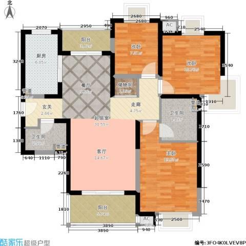 九歌上郡3室0厅2卫1厨128.00㎡户型图