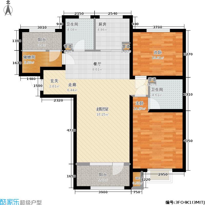 中铁秦皇半岛118.88㎡23#楼户型2室2厅