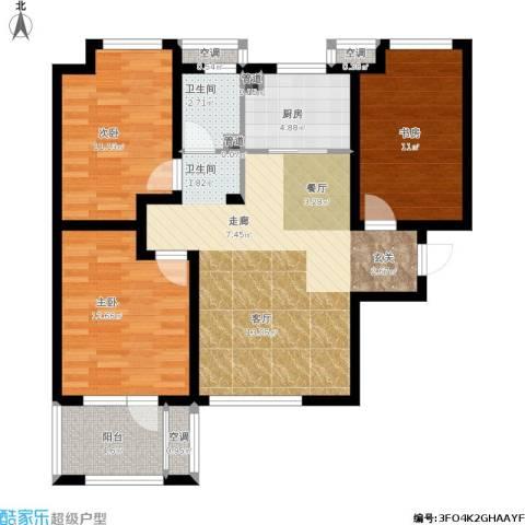 荣盛・白鹭岛3室1厅1卫1厨112.00㎡户型图