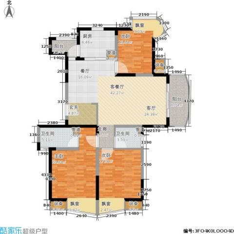 经纬城市绿洲三期3室1厅2卫1厨138.00㎡户型图