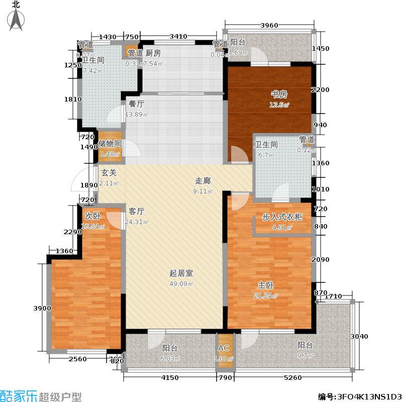 万科金域蓝湾165.00㎡户型3室2厅