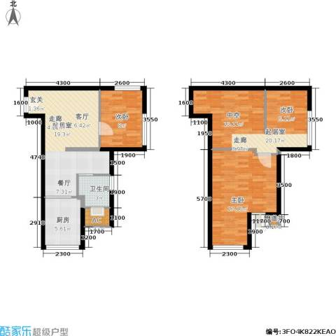 基星阁2室0厅1卫1厨107.00㎡户型图