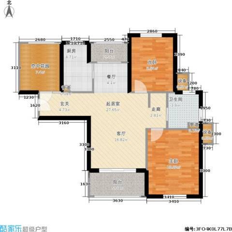 东方帕堤欧花园小城2室0厅1卫1厨84.00㎡户型图