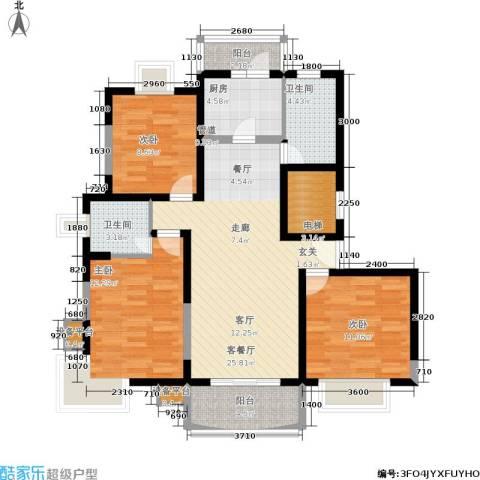德华一村3室1厅2卫1厨95.00㎡户型图