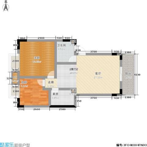 卫星・半岛花园2室0厅1卫1厨64.00㎡户型图