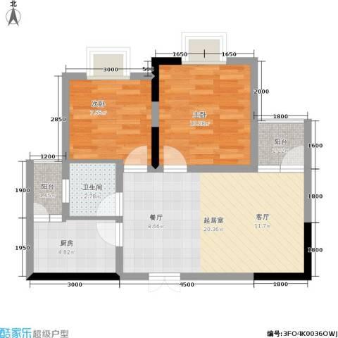 金地豪苑2室0厅1卫1厨55.00㎡户型图