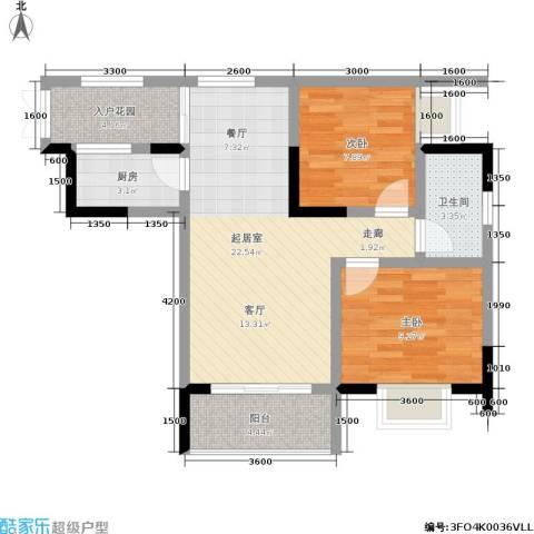 金地豪苑2室0厅1卫1厨62.00㎡户型图
