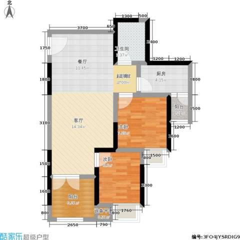 商社时代峰汇地块2室0厅1卫1厨77.00㎡户型图