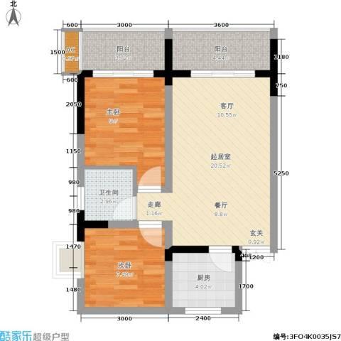 金地豪苑2室0厅1卫1厨56.00㎡户型图